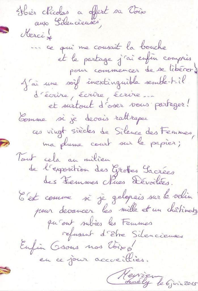 2015- hier Nicolas a offert sa Voix aux Silencieuses